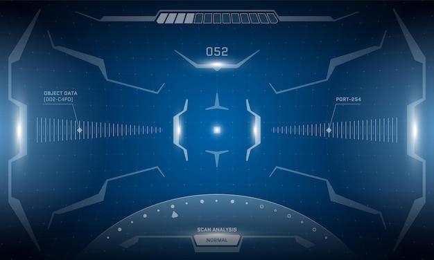 Vr hud interfaccia futuristica design dello schermo cyberpunk. la tecnologia del simulatore di realtà virtuale di fantascienza visualizza il display head-up. illustrazione eps di concetto di vettore del pannello del cruscotto digitale dell'interfaccia utente della gui ad alta tecnologia