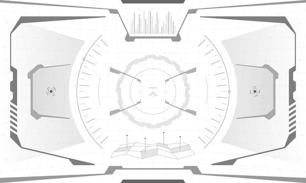 Progettazione dello schermo del mirino dell'interfaccia di gioco vr hud. visiera del display head-up di visualizzazione della realtà virtuale futuristica di fantascienza. illustrazione eps di vettore del pannello del cruscotto del centro di controllo della tecnologia digitale dell'interfaccia utente della gui