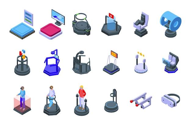 Le icone della piattaforma vr hanno impostato il vettore isometrico. realtà aumentata