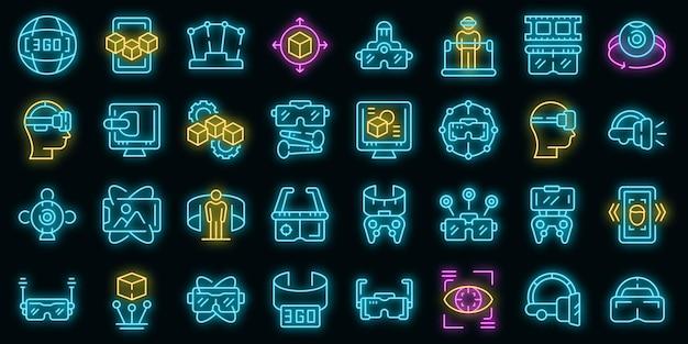 Le icone della piattaforma vr hanno impostato il vettore neon
