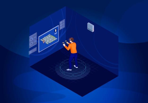 Illustrazione isometrica del giocatore vr