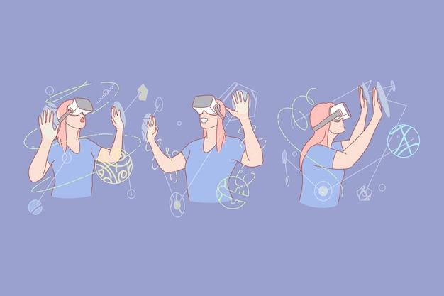 Illustrazione stabilita di concetto della cuffia avricolare di realtà virtuale o di realtà virtuale