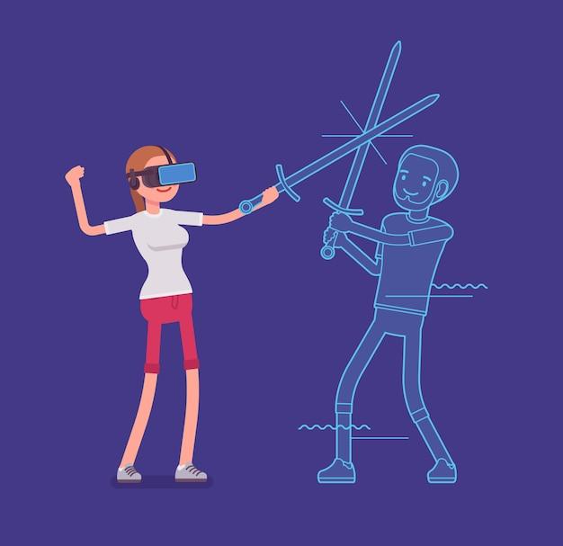 Vr donna azione di combattimento con la spada