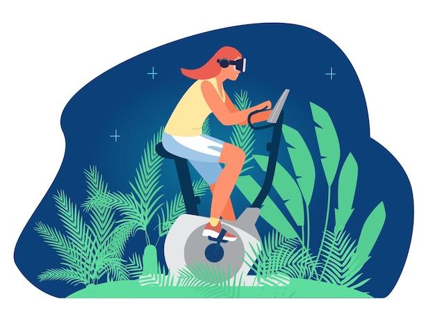 Vr allenamento e fitness donna in vr auricolare in sella a una cyclette nell'emulazione della foresta della giungla