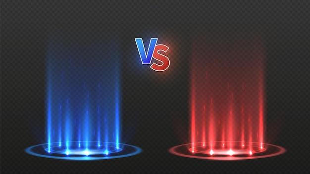 Vs pavimentazione di battaglia. contro il gioco d'azione, la squadra incandescente di confronto. pista da ballo da discoteca o teletrasporto di energia al neon. illustrazione di vettore di podi blu rossi. combatti gioco, campionato e competizione