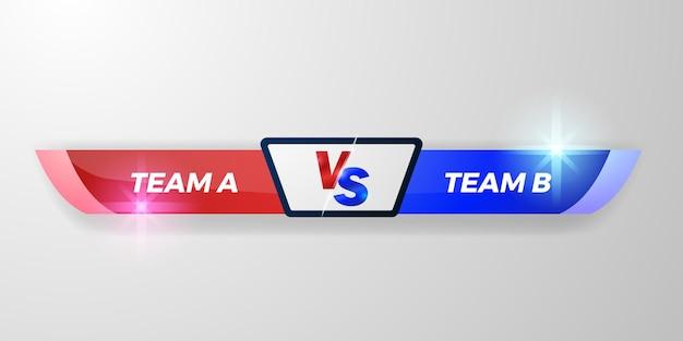 Vs battaglia terzo inferiore, tabellone squadra a contro squadra b, rosso e blu, elegante per duello sport, competizione,