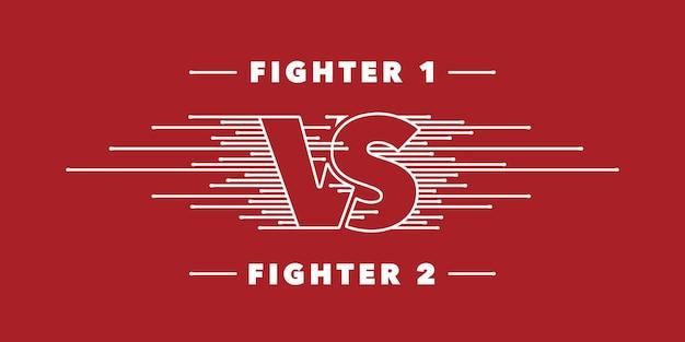 Vs lettere vettore icona, logo. progettazione di concorrenza a squadre con segno contro su sfondo rosso. banner o sfondo