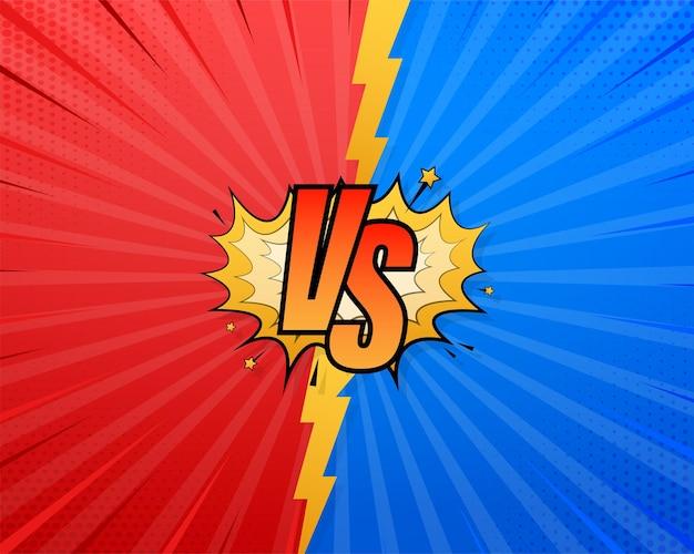 Vs versus design a fumetti blu e rosso. corrispondenza della bandiera di battaglia, confronto della concorrenza delle lettere contro. illustrazione di riserva di vettore. illustrazione vettoriale