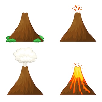 Illustrazione di vulcano su sfondo bianco