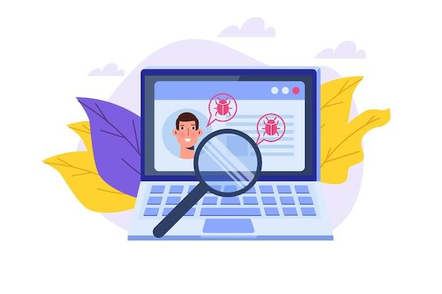Vulnerabilità e bug cercano o scansionano, trovando il concetto di malware. illustrazione vettoriale.
