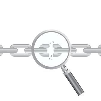 Ricerca vulnerabilità. ottimizzazione seo, analisi dei dati web, elementi del processo di programmazione. concetto di sicurezza it. illustrazione. lente d'ingrandimento e catena strappata