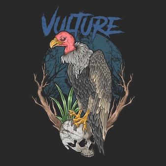 Avvoltoio e teschio scuro halloween