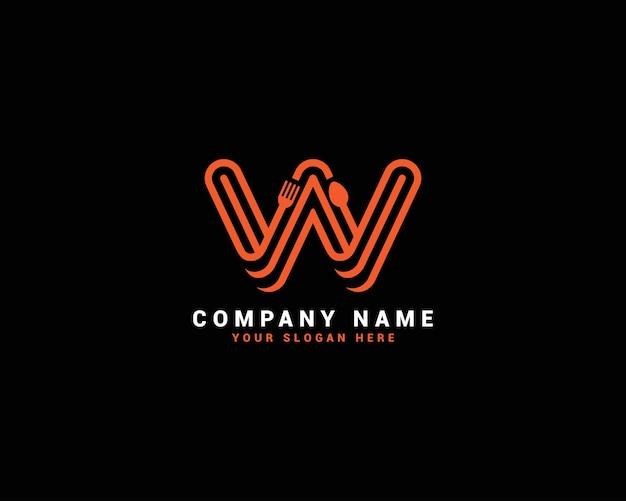 Logo della lettera del cibo w, logo della lettera del cucchiaio w, set del logo della lettera del cibo, alfabeto del cibo