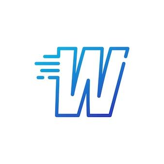 W lettera trattino veloce rapido segno digitale linea contorno logo icona vettore illustrazione