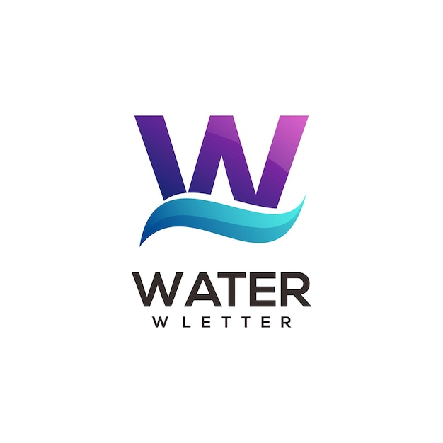 W lettera logo gradiente illustrazione colorata