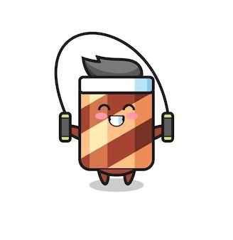 Personaggio mascotte del rotolo di wafer che fa un gesto stanco, design in stile carino per maglietta, adesivo, elemento logo