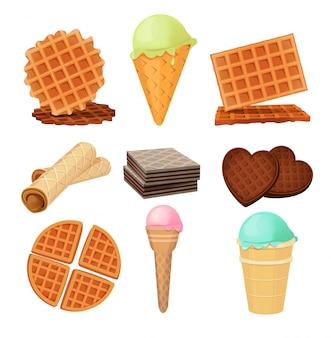 Dessert di waffels. set di immagini vettoriali isolare