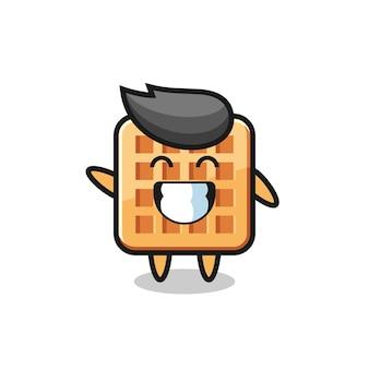 Personaggio dei cartoni animati di waffle che fa il gesto della mano con l'onda, design carino