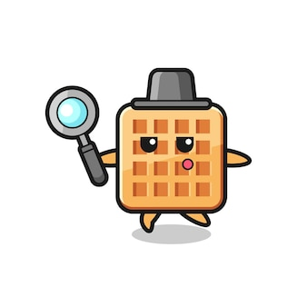 Personaggio dei cartoni animati waffle che cerca con una lente d'ingrandimento, design carino