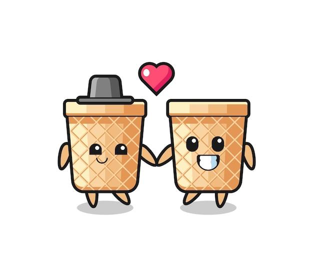 Coppia di personaggi dei cartoni animati di cono di cialda con gesto di innamoramento, design carino