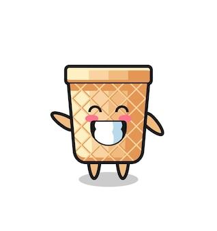 Personaggio dei cartoni animati del cono di cialda che fa il gesto della mano dell'onda, design carino