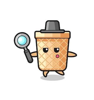 Personaggio dei cartoni animati a cono di cialda che cerca con una lente d'ingrandimento, design carino