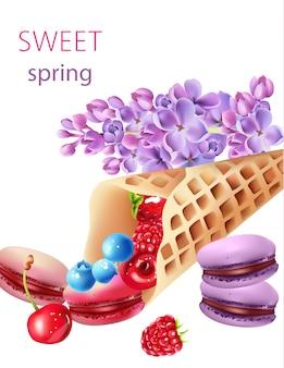 Cono di cialda pieno di mirtilli, ciliegie, lamponi, fragole e macarons, con alcuni fiori lilla