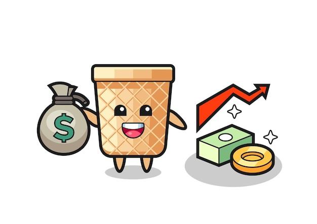 Fumetto dell'illustrazione del cono della cialda che tiene il sacco dei soldi, design carino