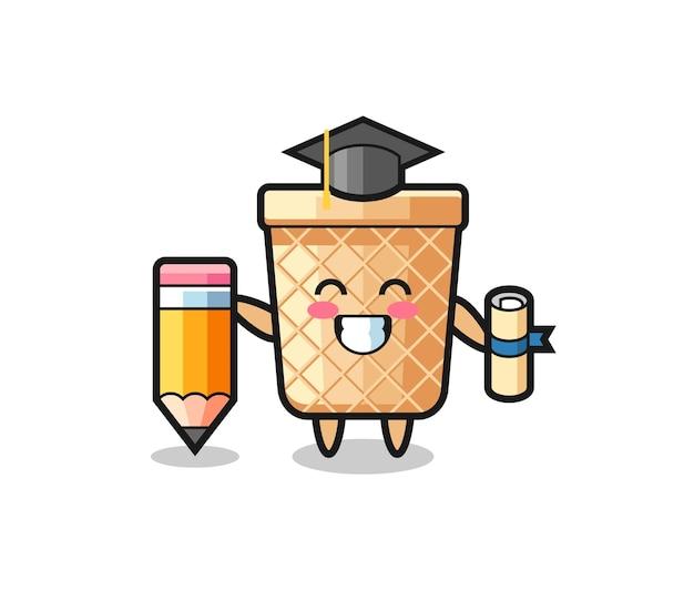 Il fumetto dell'illustrazione del cono di cialda è la laurea con una matita gigante, un design carino