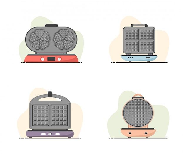 Waffle-ferro. set di waffle maker isolato su bianco. cucinare la colazione. illustrazione moderna di vettore nello stile piano del fumetto