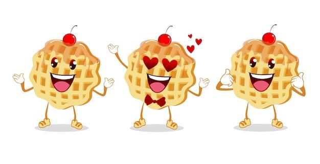Cartone animato mascotte waffle in vettoriale