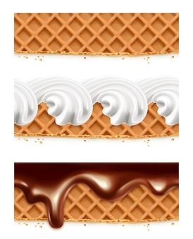 Waffle, cioccolato, panna montata, modelli orizzontali senza soluzione di continuità