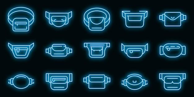 Set di icone di marsupio. contorno set di icone vettoriali marsupio colore neon su nero