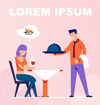 Il cameriere porta l'ordine alimentare per la ragazza seduta al tavolo