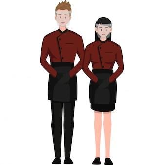 Servizio di cameriere e maggiordomo con visiera per sicurezza in caso di pandemia