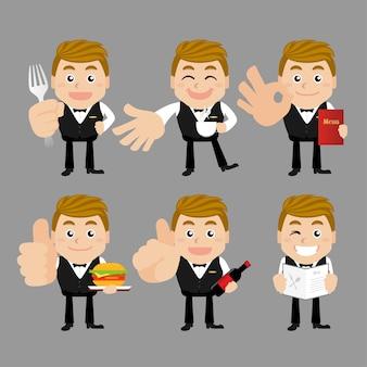 Cameriere in diverse pose