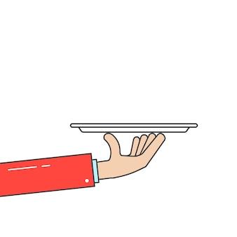 Piatto della tenuta del cameriere in mano lineare. concetto di cena in hotel, alta cucina, vassoio, lavoratore, evento, colazione, braccio di maggiordomo, piatto. stile piatto tendenza design moderno illustrazione vettoriale su sfondo bianco