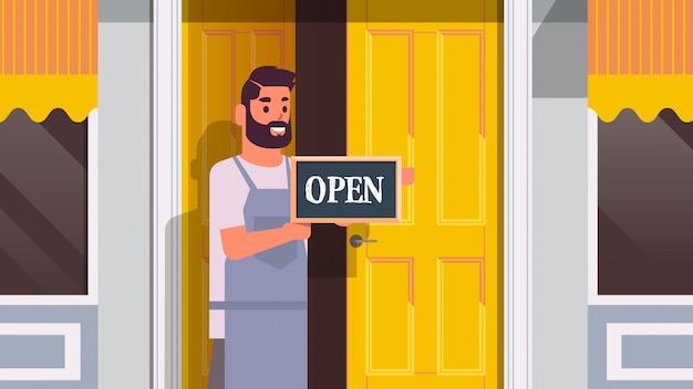 Cameriere azienda benvenuto siamo segno aperto