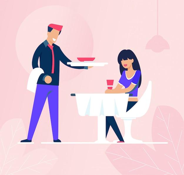 Cameriere e donna triste che si siedono avanti nel ristorante