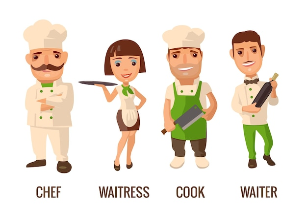 Cameriere con bottiglia di vino. cuoco l'uomo con il coltello. orgoglioso cuoco uomo con i baffi incrociò le braccia. cameriera con vassoio. piatto di vettore su priorità bassa bianca.