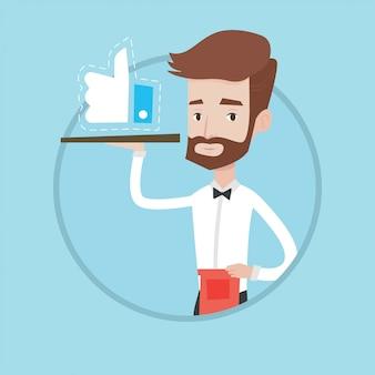Cameriere con l'illustrazione simile di vettore del bottone.