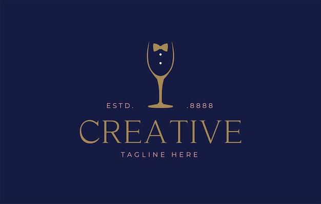 Modello di progettazione del logo del bicchiere di vino dei camerieri
