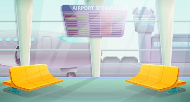 Area di attesa all'aeroporto di mattina, illustrazione vettoriale
