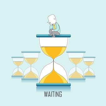 Concetto di attesa: l'uomo d'affari continua ad aspettare e si siede su una clessidra in stile linea