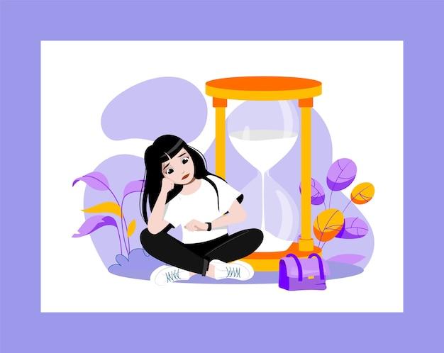 In attesa di concetto. giovane ragazza triste attraente sta aspettando qualcosa seduto vicino a enormi clessidre e guardando l'orologio a mano. attesa dispiaciuta in una coda