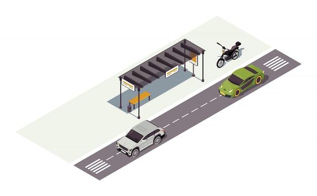 Illustrazione di colore isometrica della stazione di attesa. fermata dell'autobus. automobili e moto. infografica del trasporto urbano. segnaletica stradale. traffico cittadino. concetto automatico su sfondo bianco