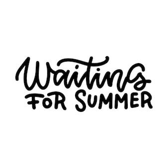 Aspettando lo slogan divertente lineare di estate sulla frase di citazione di schizzo di vacanza
