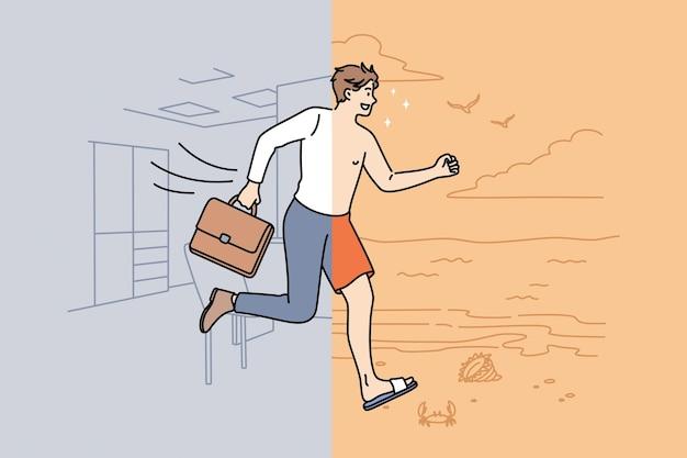 In attesa di vacanze e concetto di riposo. giovane uomo d'affari sorridente per metà che indossa un abito ufficiale in ufficio per metà che corre in spiaggia in illustrazione vettoriale di costume da bagno