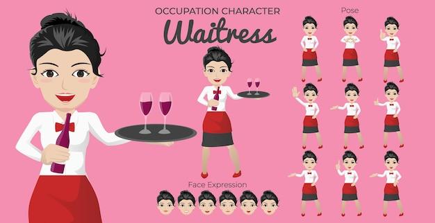 Set di caratteri di cameriera con varietà di posa ed espressione del viso