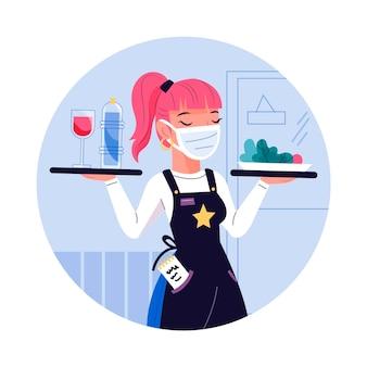 Cameriera indossa maschera e servizio